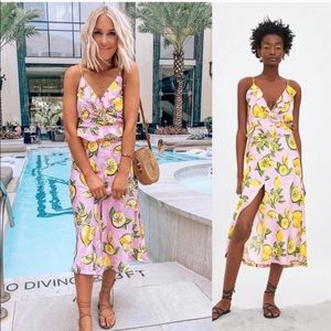 New ZARA Lemon 2Pc Set Lemon Print Top and Skirt